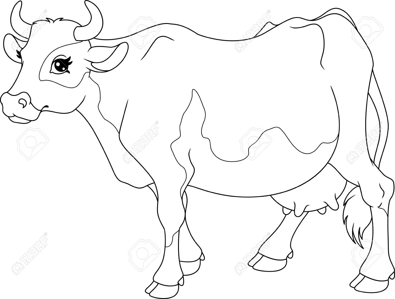 Cow Coloring Page Royalty Free Cliparts, Vectors, And Stock ...