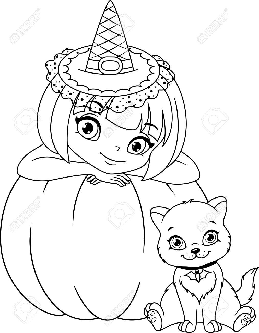 La Bruja Con La Página Para Colorear De Gatitos Ilustraciones ...