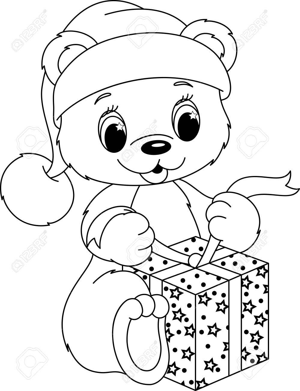 - Christmas Teddy Bear Coloring Page Royalty Free Cliparts, Vectors