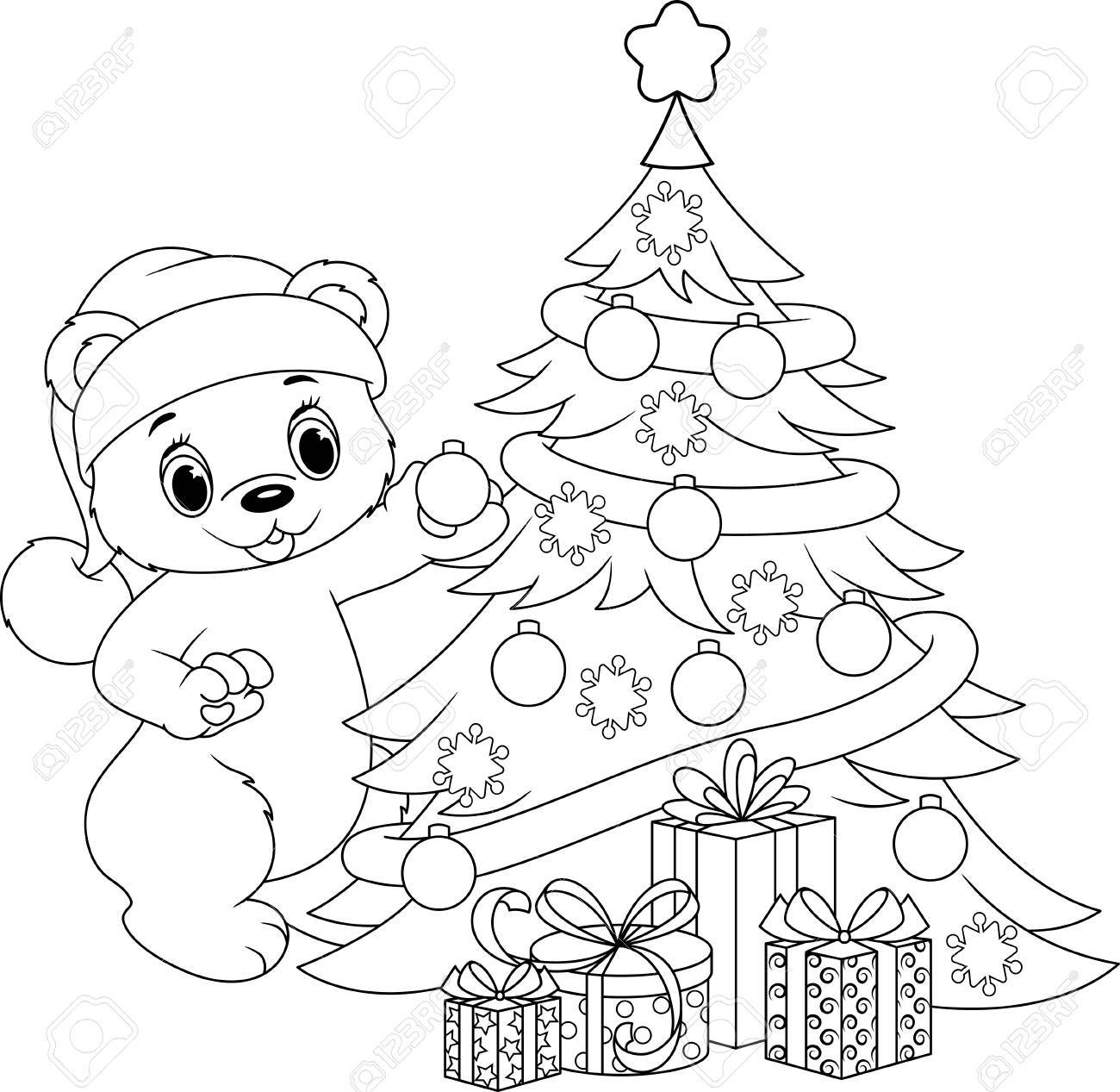 Christmas Tree Coloring Page Royalty Free Cliparts, Vectors, And ...