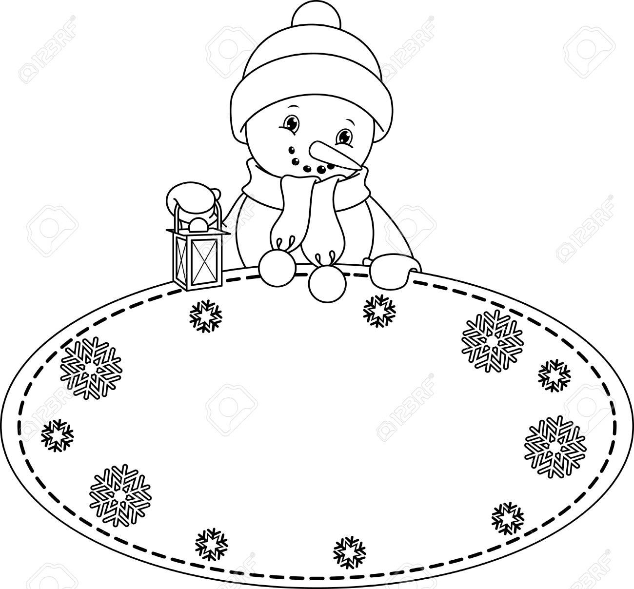Coloriage Bonhomme De Neige Noel.Cadre De Noel Avec Coloriage Bonhomme De Neige Clip Art Libres De