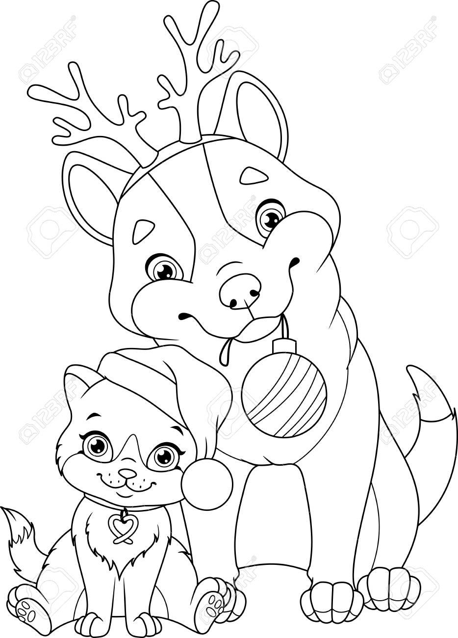 Chien De Noël Avec Chat Coloriage