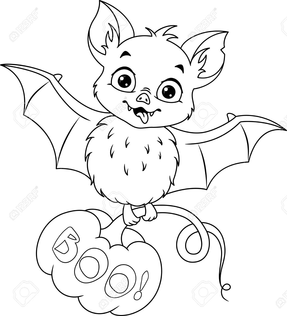 Bat With Pumpkin For Halloween Coloring Page