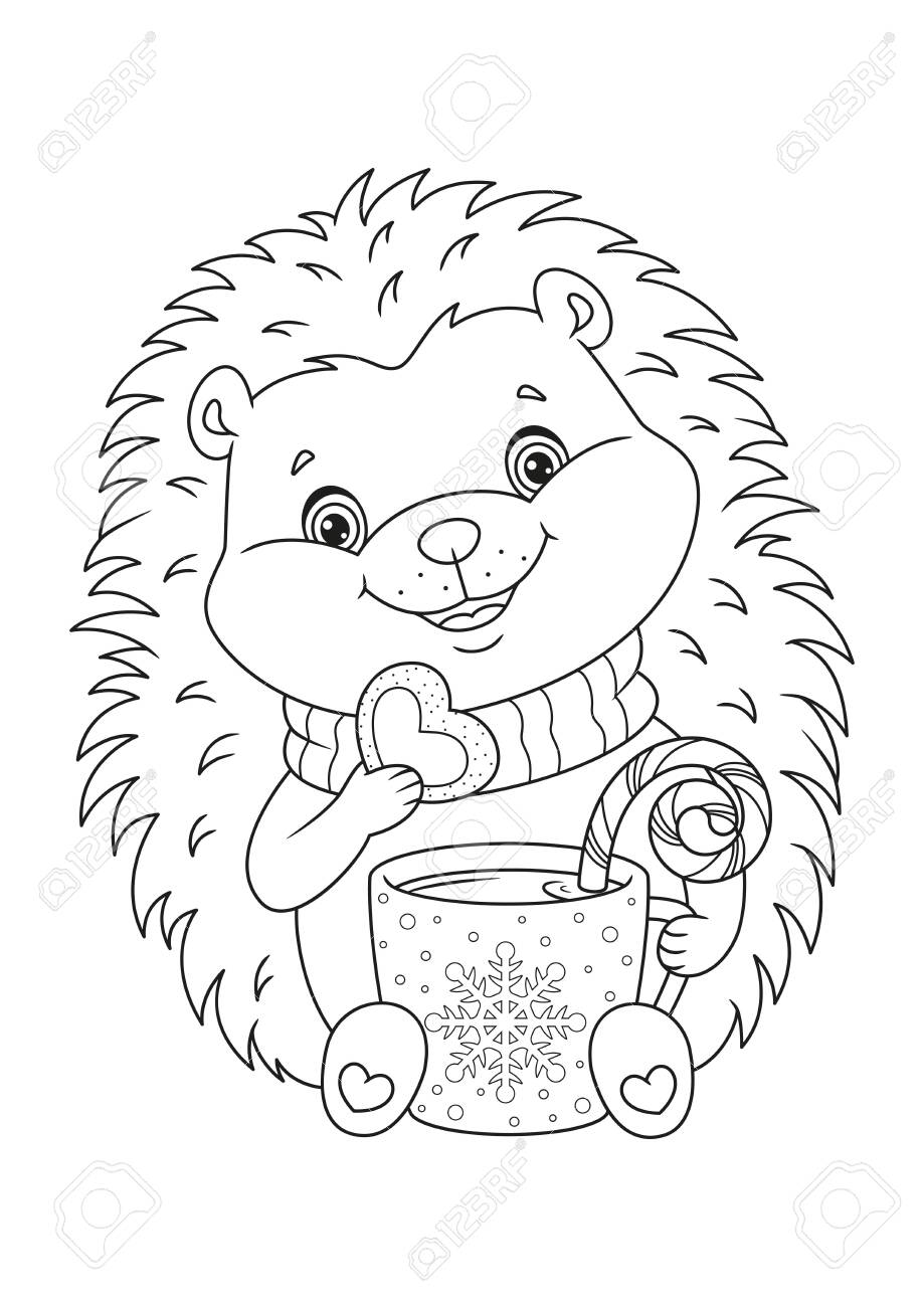 Happy Christmas Hedgehog Coloring Page Royalty Free Cliparts Vectors And Stock Illustration Image 151128896