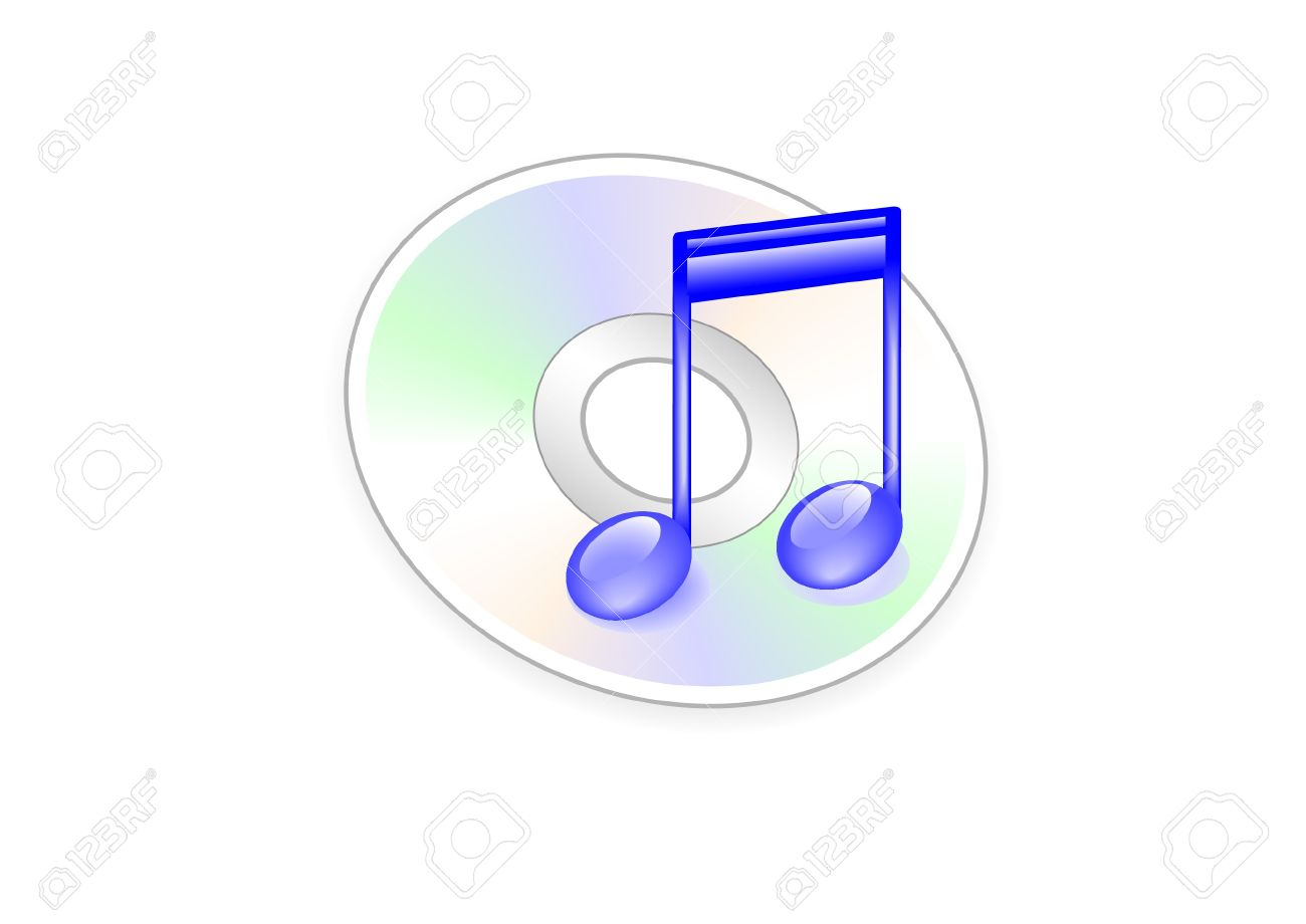 ththe music icon in the form of the notes on the background of the disc e