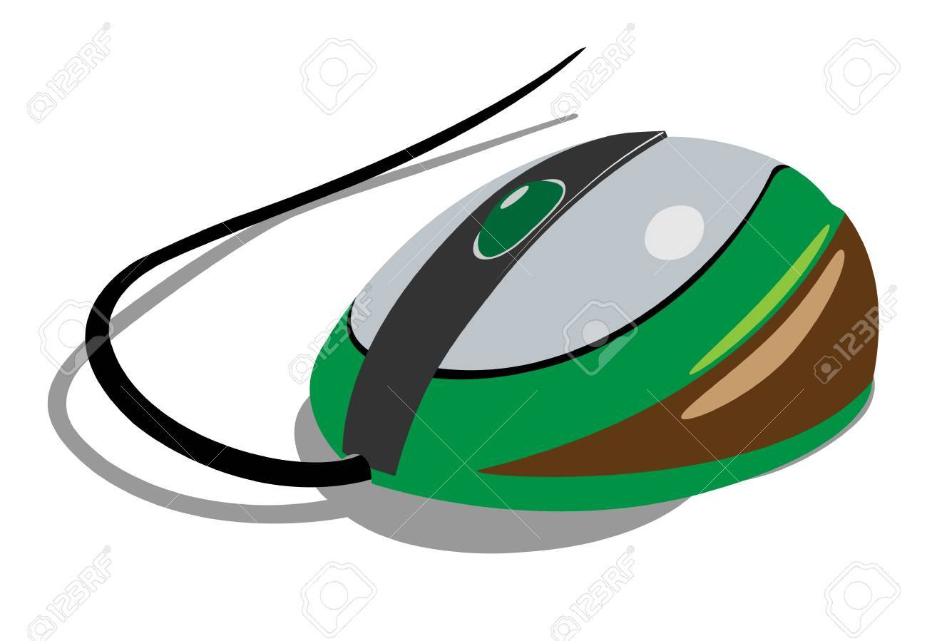 Computer mouse green painted. Realistic wireless. Stock Vector - 17595063