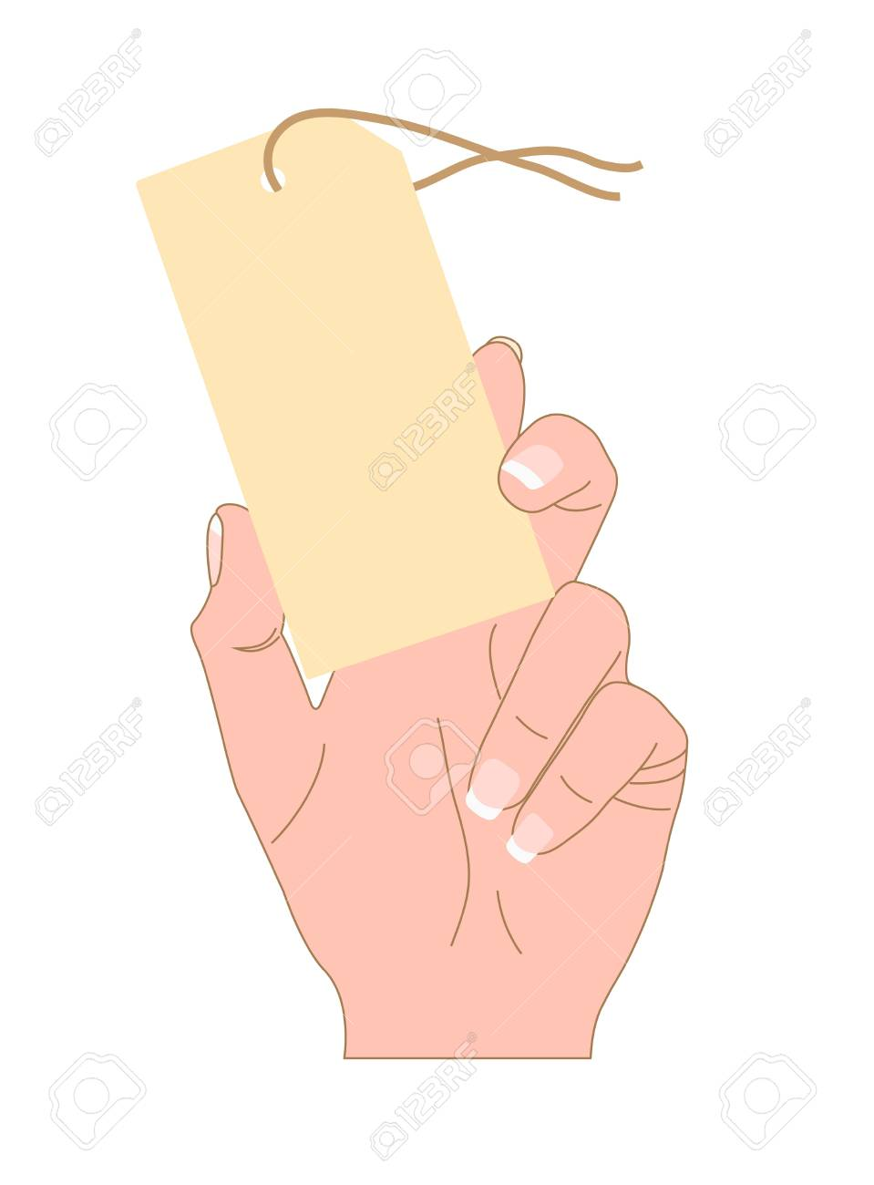 The Label in a hand  This offer to make purchase Stock Vector - 17729211