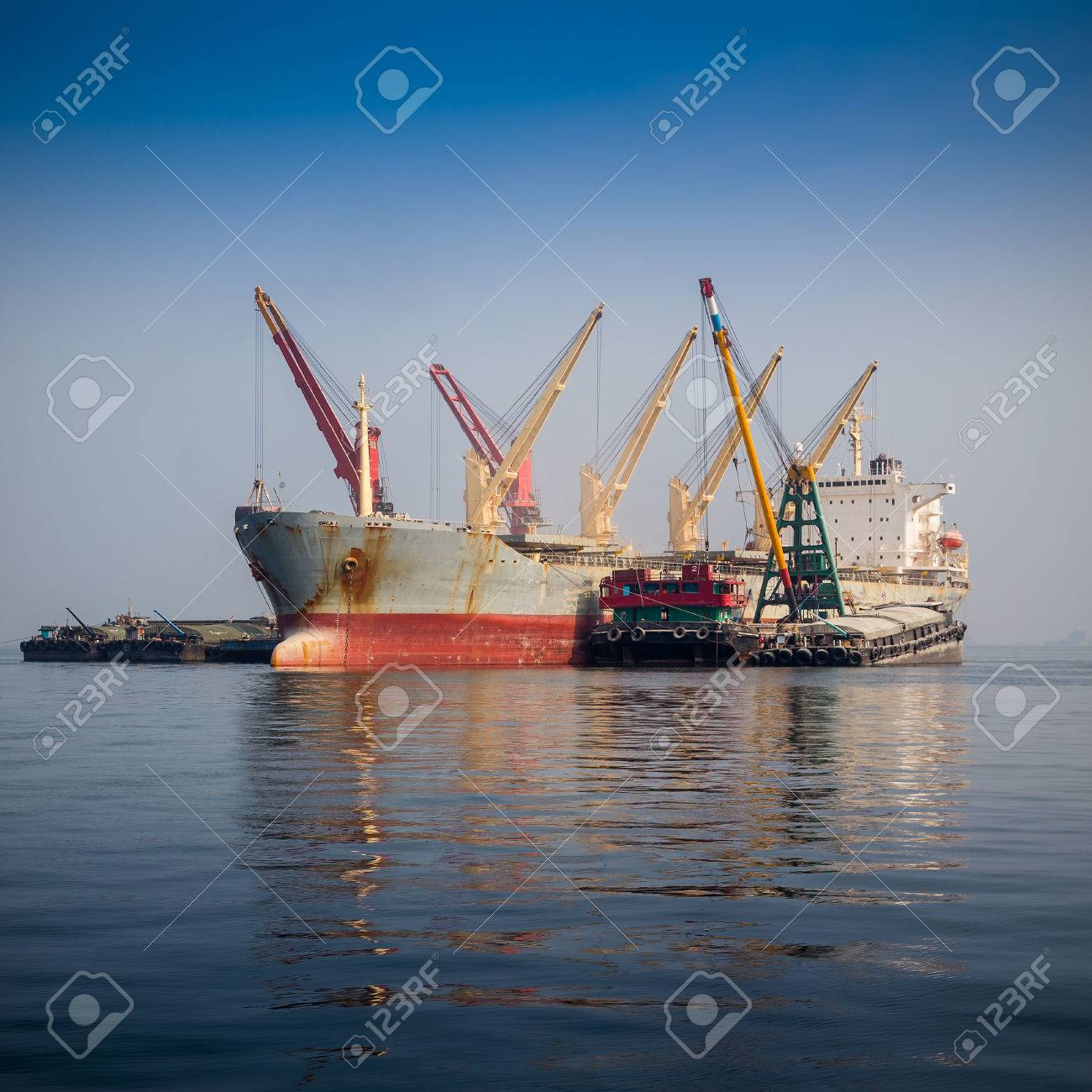 cargo ship sailing in sea - 23158901