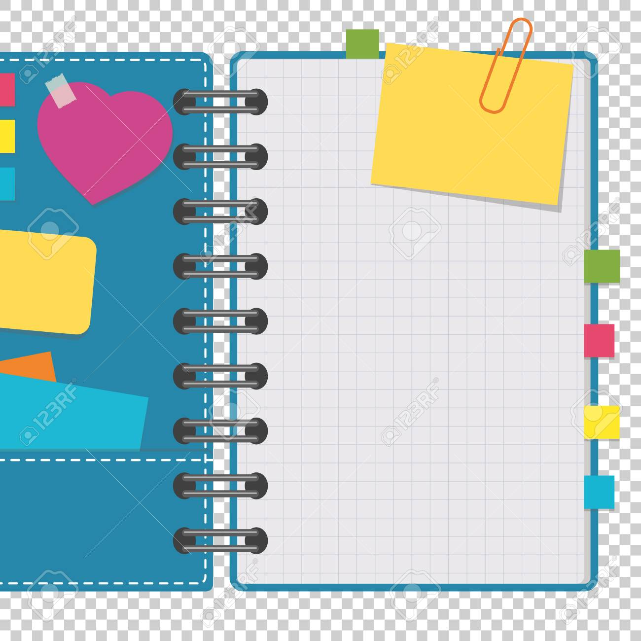 Open notepad with clean sheets on a spiral with bookmarks between the pages. Colorful flat vector illustration isolated on a transparent background. With space for text or image - 99266873