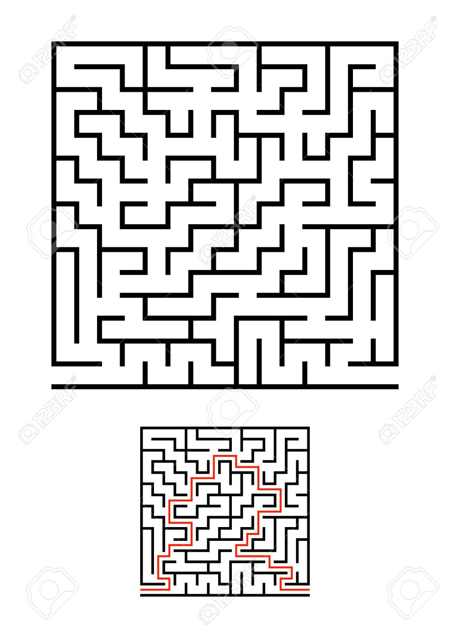 Abstract square maze  Game for kids  Puzzle for children  One