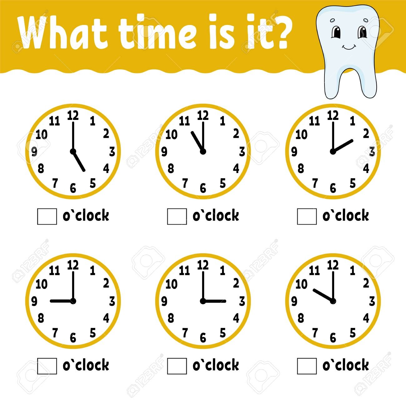 Learning time on the clock. Educational activity worksheet for..