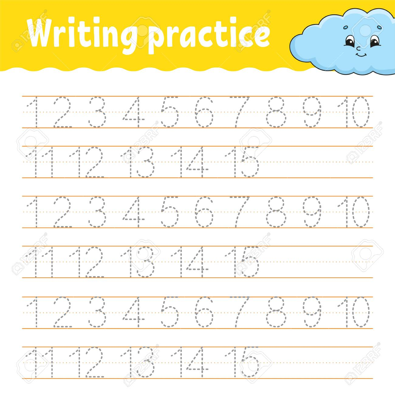 Trace and write. Handwriting practice. Learning numbers for kids...