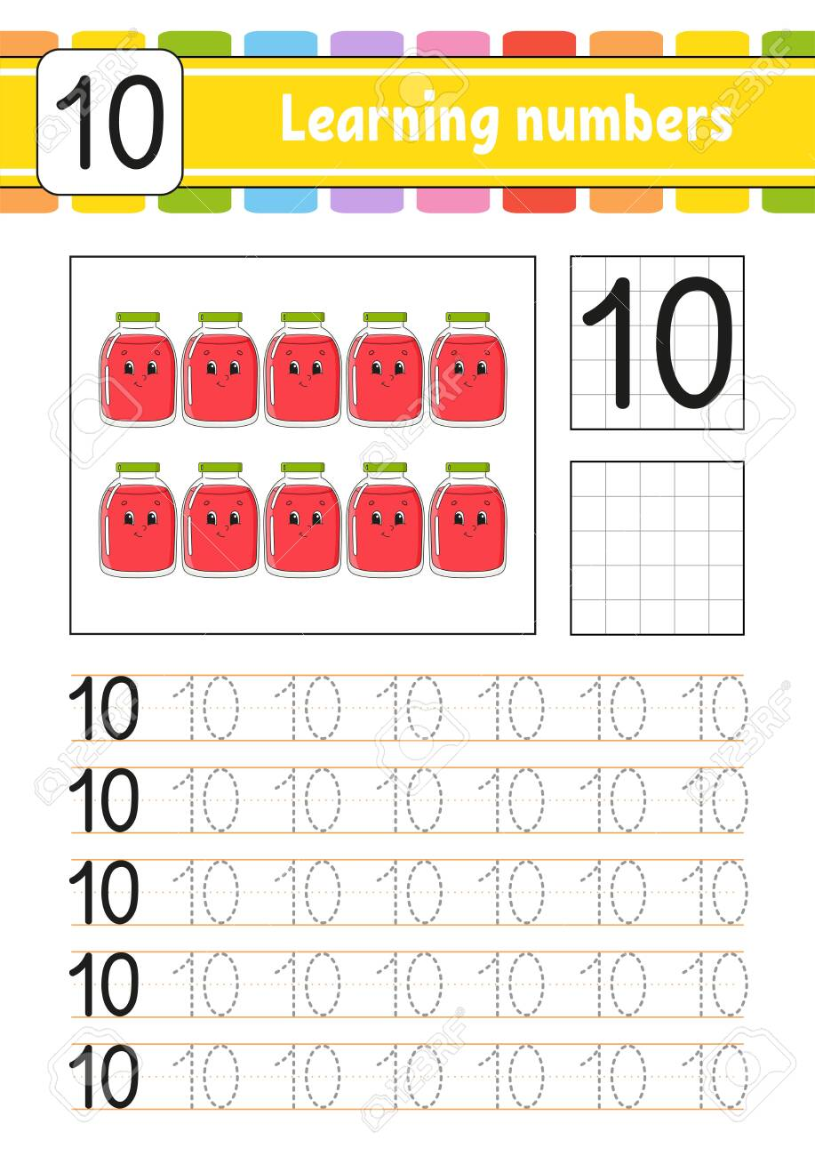 Learning numbers for kids. Handwriting practice. Education developing..