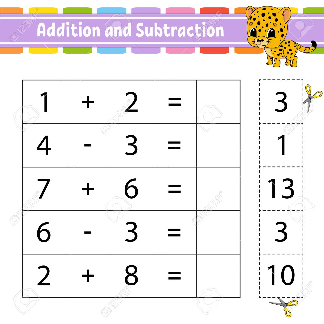 Addition and subtraction. Task for kids. Education developing worksheet. Activity page. Game for children. Funny character. Isolated vector illustration. Cartoon style - 126726553
