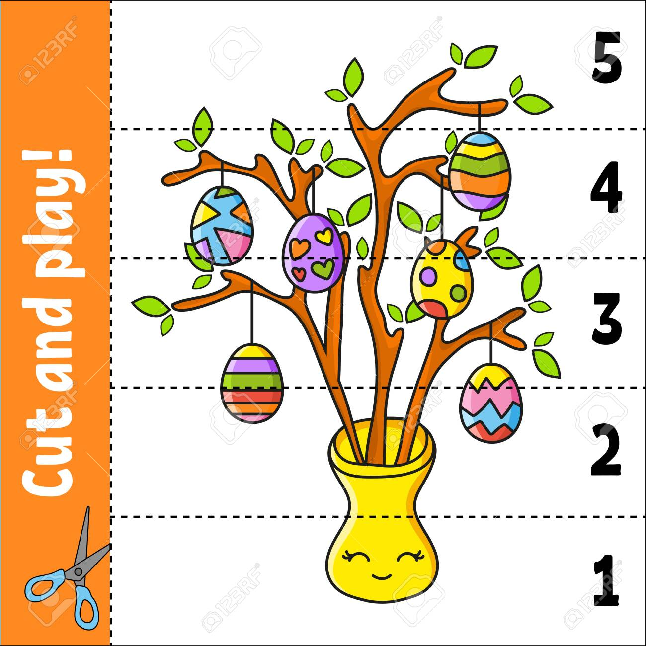 Learning Numbers 1 5 Cut And Play Education Worksheet Game Royalty Free Cliparts Vectors And Stock Illustration Image 154456820