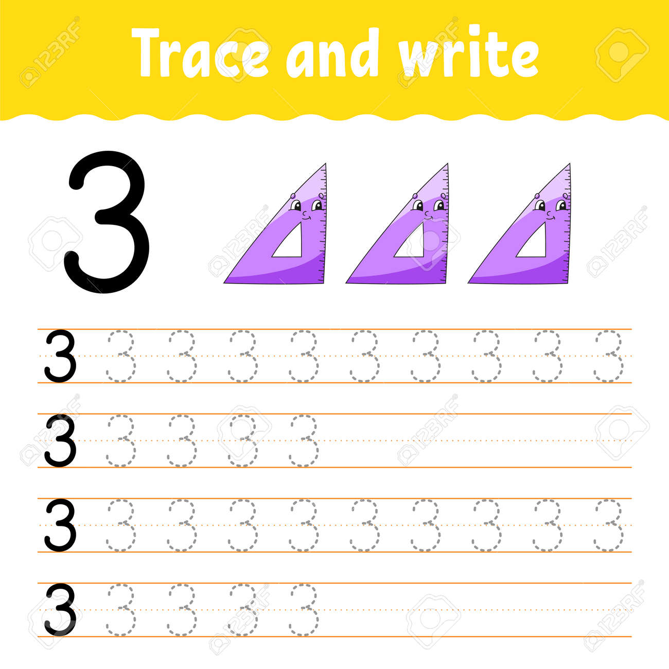 Learn Numbers. Trace and write. Back to school. Handwriting practice. Learning numbers for kids. Education developing worksheet. Isolated vector illustration in cute cartoon style. - 156630365