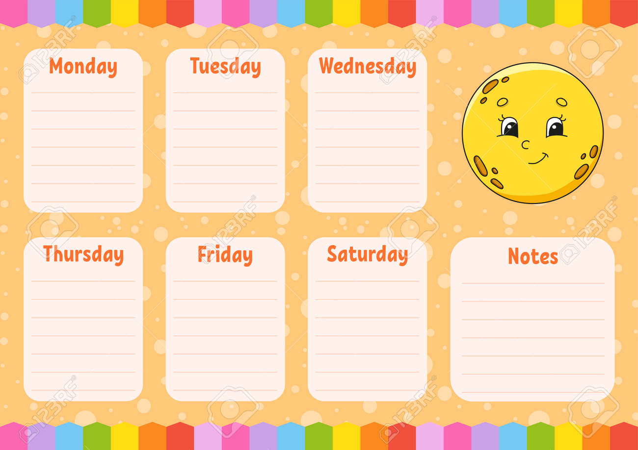 School schedule. Cute moon. Timetable for schoolboys. Empty template. Weekly planer with notes. Isolated color vector illustration. Cartoon character. - 169599621