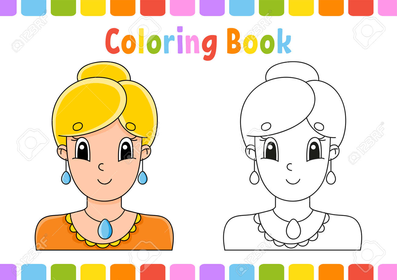 Coloring book for kids. Cartoon character. Vector illustration. Fantasy page for children. Black contour silhouette. Isolated on white background. - 169599646