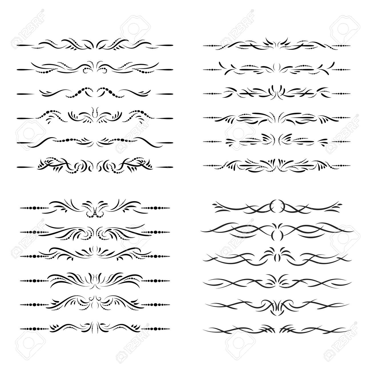 Fashion dividers. Underlines and text separators. Vector collection. Isolated vector set of borders for text, invitations, cards, books, menus. Design element. - 169599653