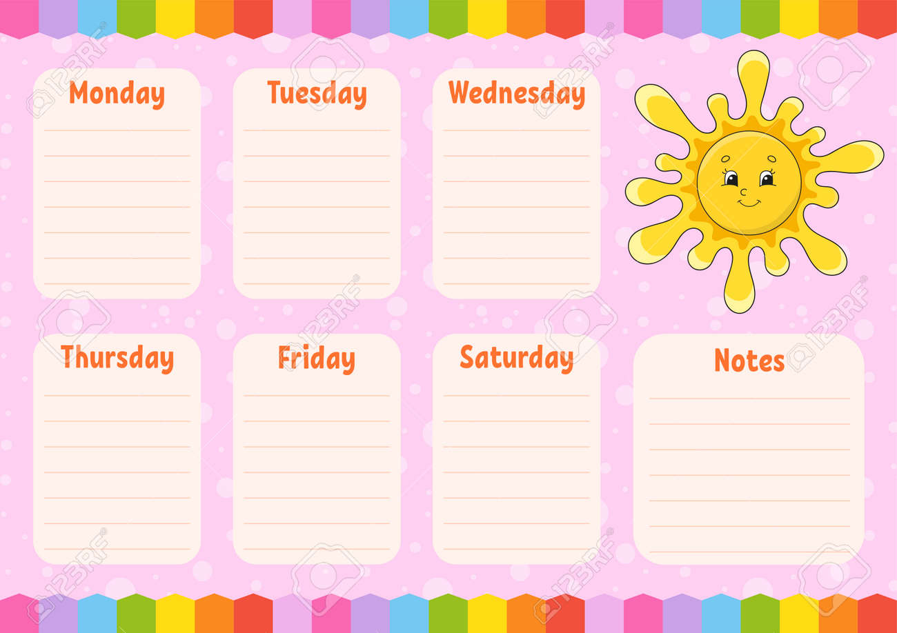 School schedule. Cute sun. Timetable for schoolboys. Empty template. Weekly planer with notes. Isolated color vector illustration. Cartoon character. - 169599701