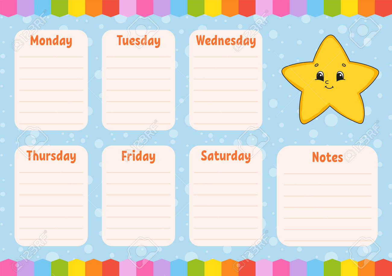 School schedule. Timetable for schoolboys. Cartoon star. Empty template. Weekly planer with notes. Isolated color vector illustration. Cartoon character. - 169599706