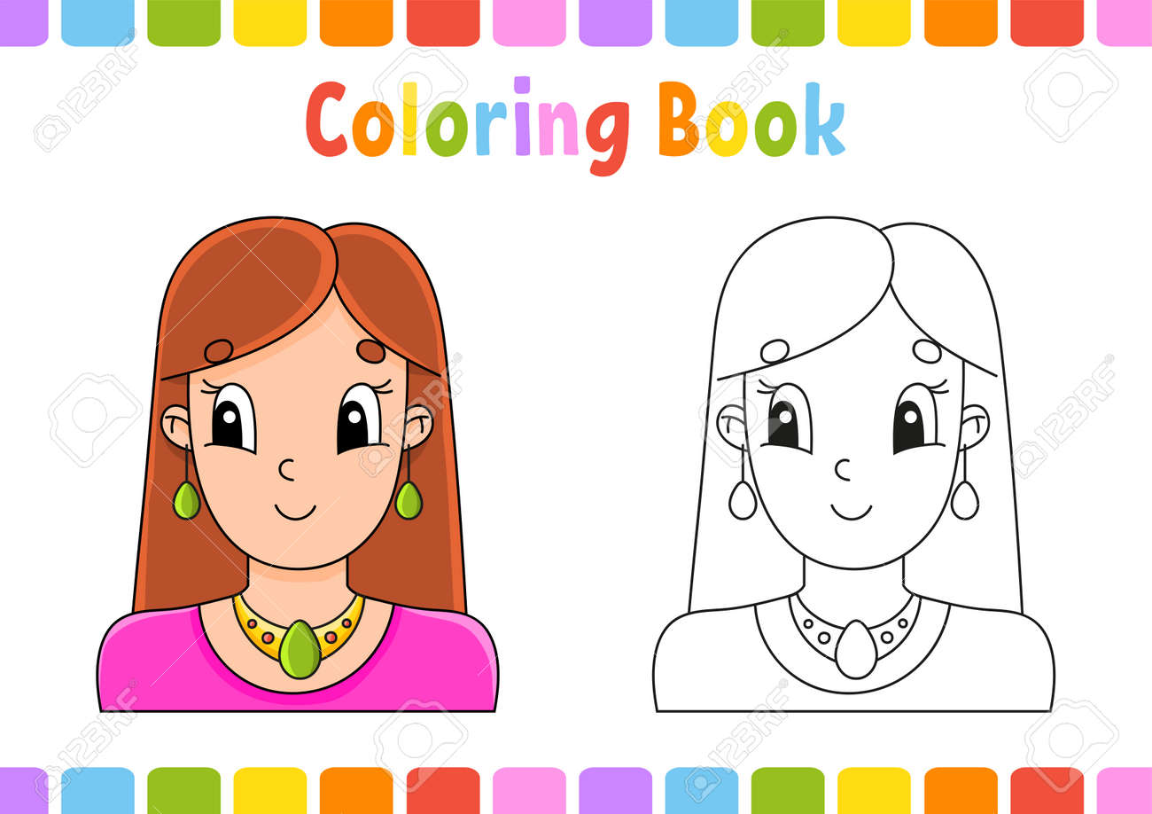 Coloring book for kids. Cartoon character. Vector illustration. Fantasy page for children. Black contour silhouette. Isolated on white background. - 169599707