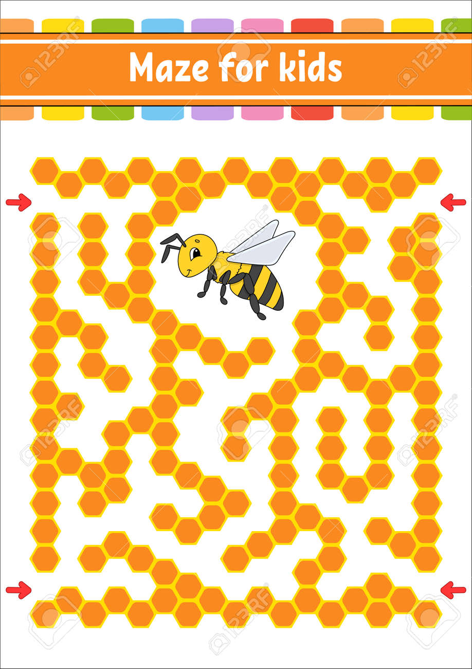 Rectangular color maze. Striped bee. Game for kids. Funny labyrinth. Education developing worksheet. Activity page. Puzzle for children. Cartoon character. Logical conundrum. Vector illustration. - 169599708