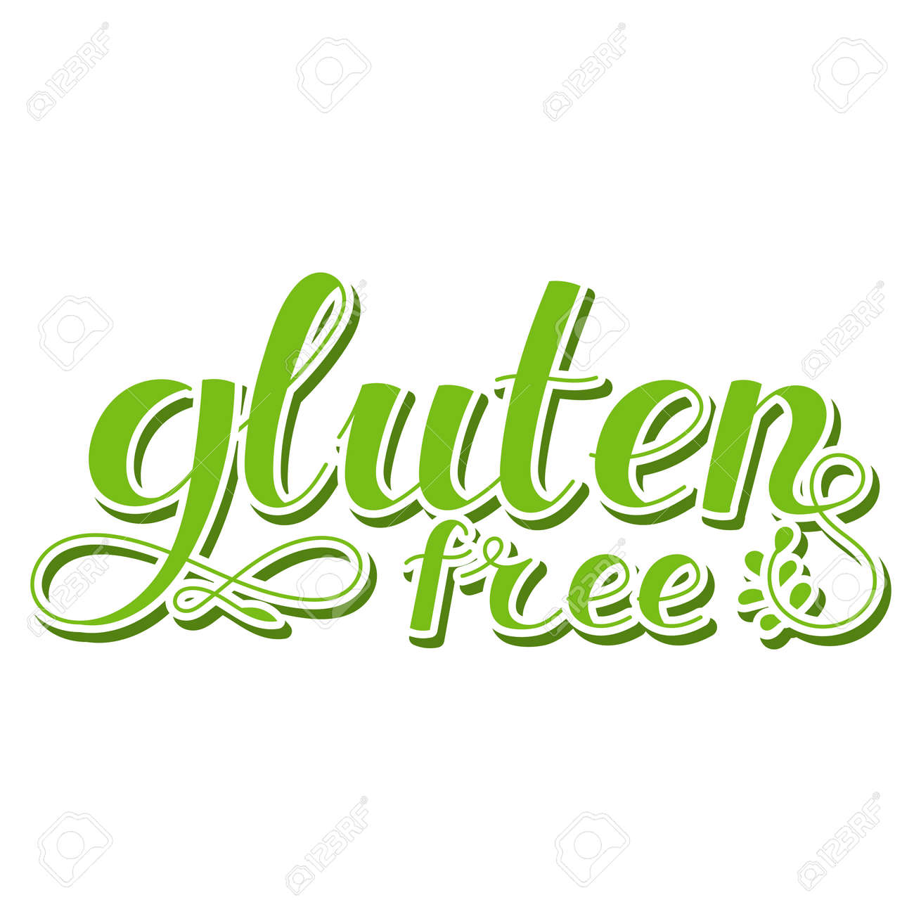 Lettering inscription. Gluten free. Healthy lifestyle theme. Hand drawn phrase. Vector illustration. Design element for t-shirts and prints. - 169599718