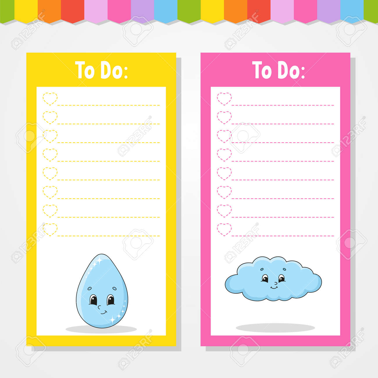 To do list for kids. Empty template. Drop and cloud. The rectangular shape. Isolated color vector illustration. Funny character. Cartoon style. For the diary, notebook, bookmark. - 169599720