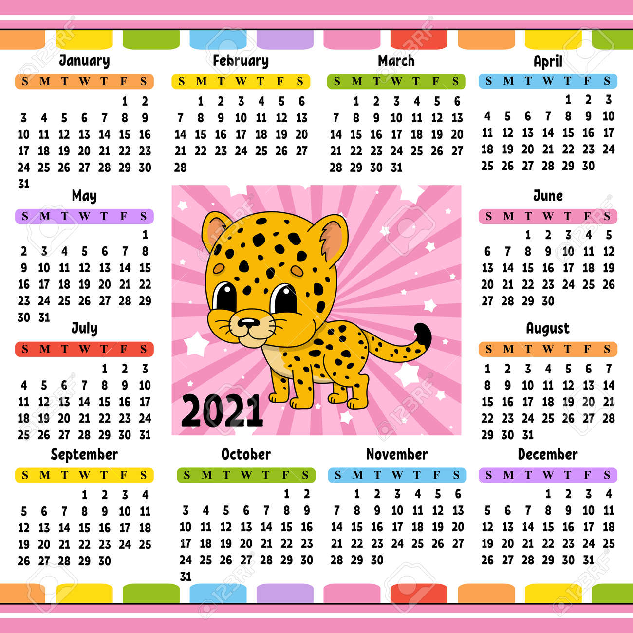 Calendar for 2021 with a cute character. Spotted jaguar. Fun and bright design. Isolated color vector illustration. Cartoon style. - 169599721