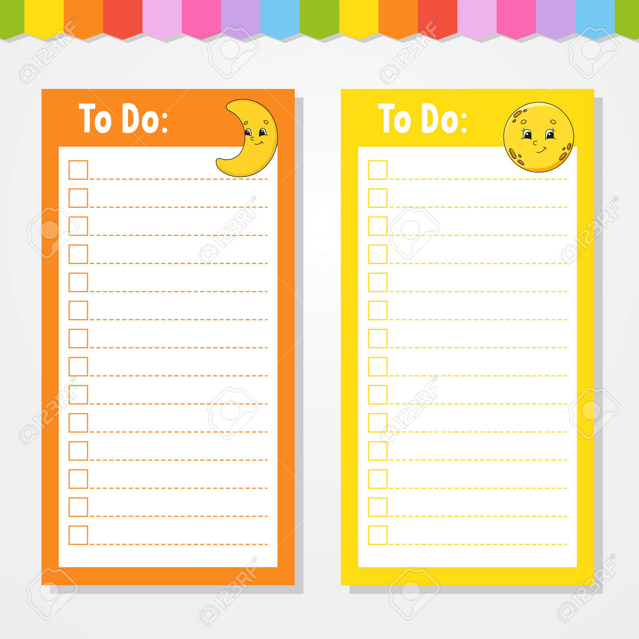 To do list for kids. Empty template. Crescent and moon. The rectangular shape. Isolated color vector illustration. Funny character. Cartoon style. For the diary, notebook, bookmark. - 169599772
