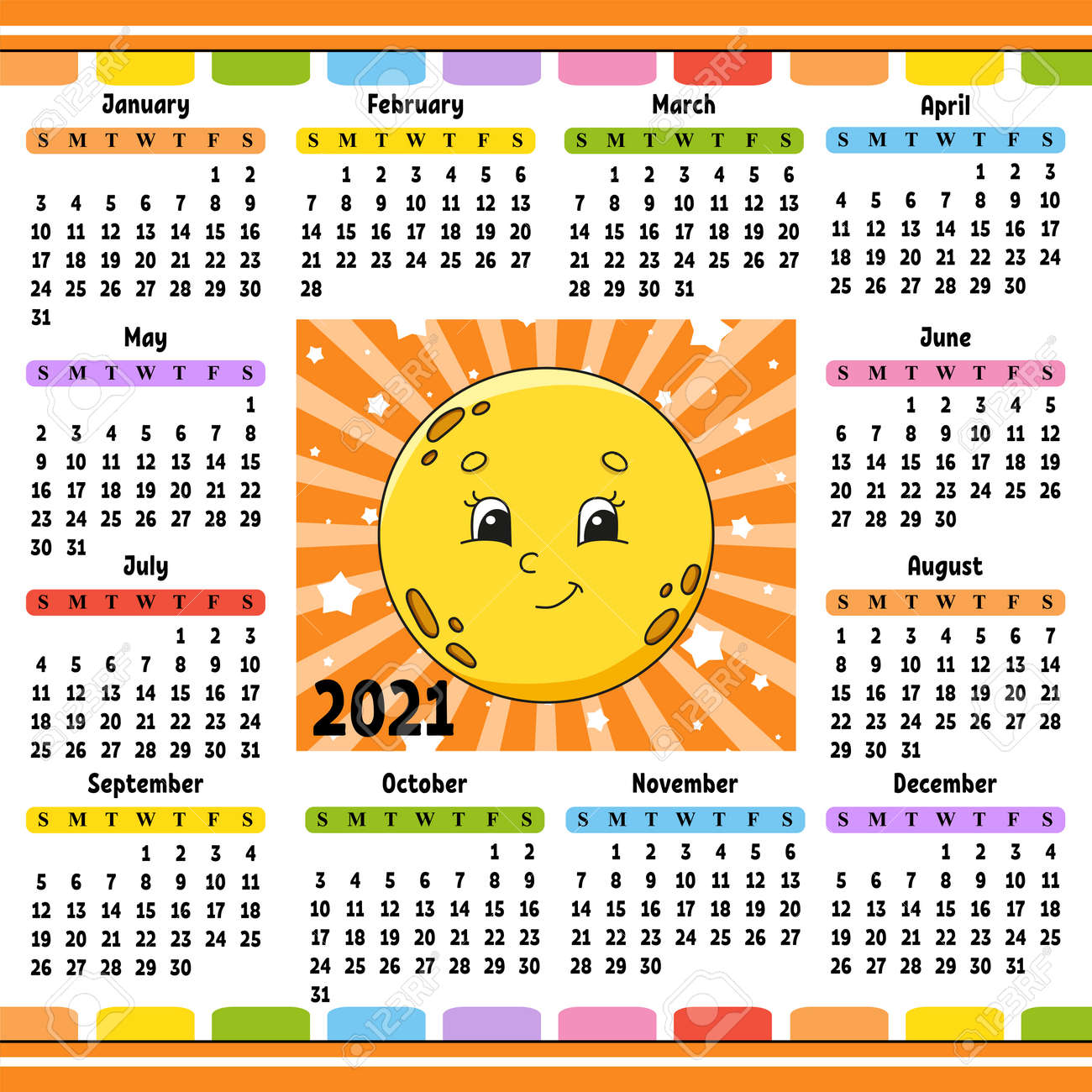 Calendar for 2021 with a cute character. Cute moon. Fun and bright design. Isolated color vector illustration. Cartoon style. - 169599794
