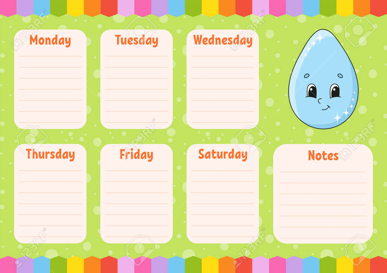 School schedule. Cute drop. Timetable for schoolboys. Empty template. Weekly planer with notes. Isolated color vector illustration. Cartoon character. - 169599810