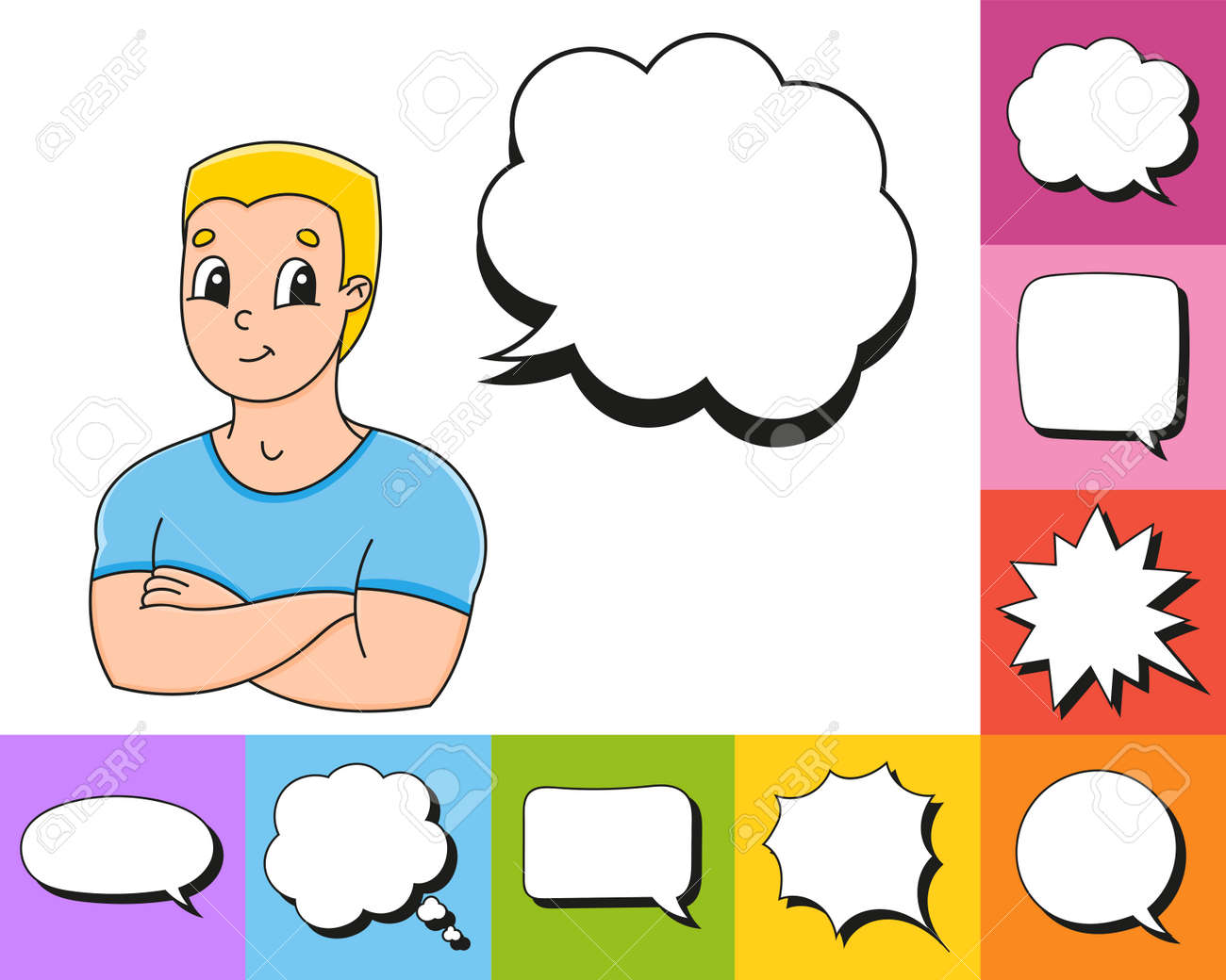 Set of speech bubbles of different shapes. With a cute cartoon character. Hand drawn. Thinking balloons. Vector illustration isolated on white background. Comic doodle style. - 169599811