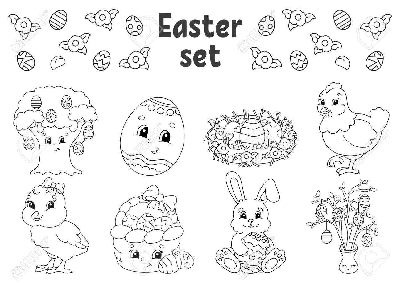 Coloring book for kids. Easter clipart. Cheerful characters. Vector illustration. Cute cartoon style. Black contour silhouette. Isolated on white background. - 169599816