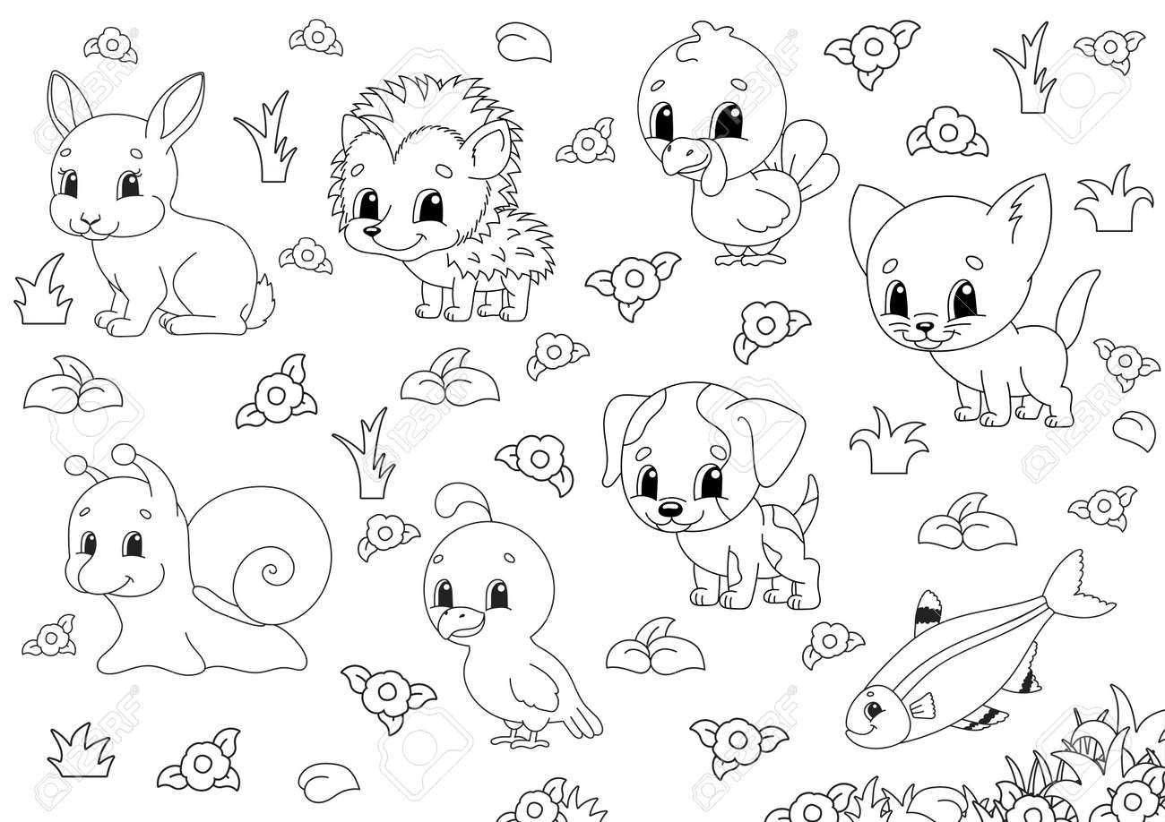Coloring book for kids. Animal clipart. Cheerful characters. Vector illustration. Cute cartoon style. Black contour silhouette. Isolated on white background. - 169599818