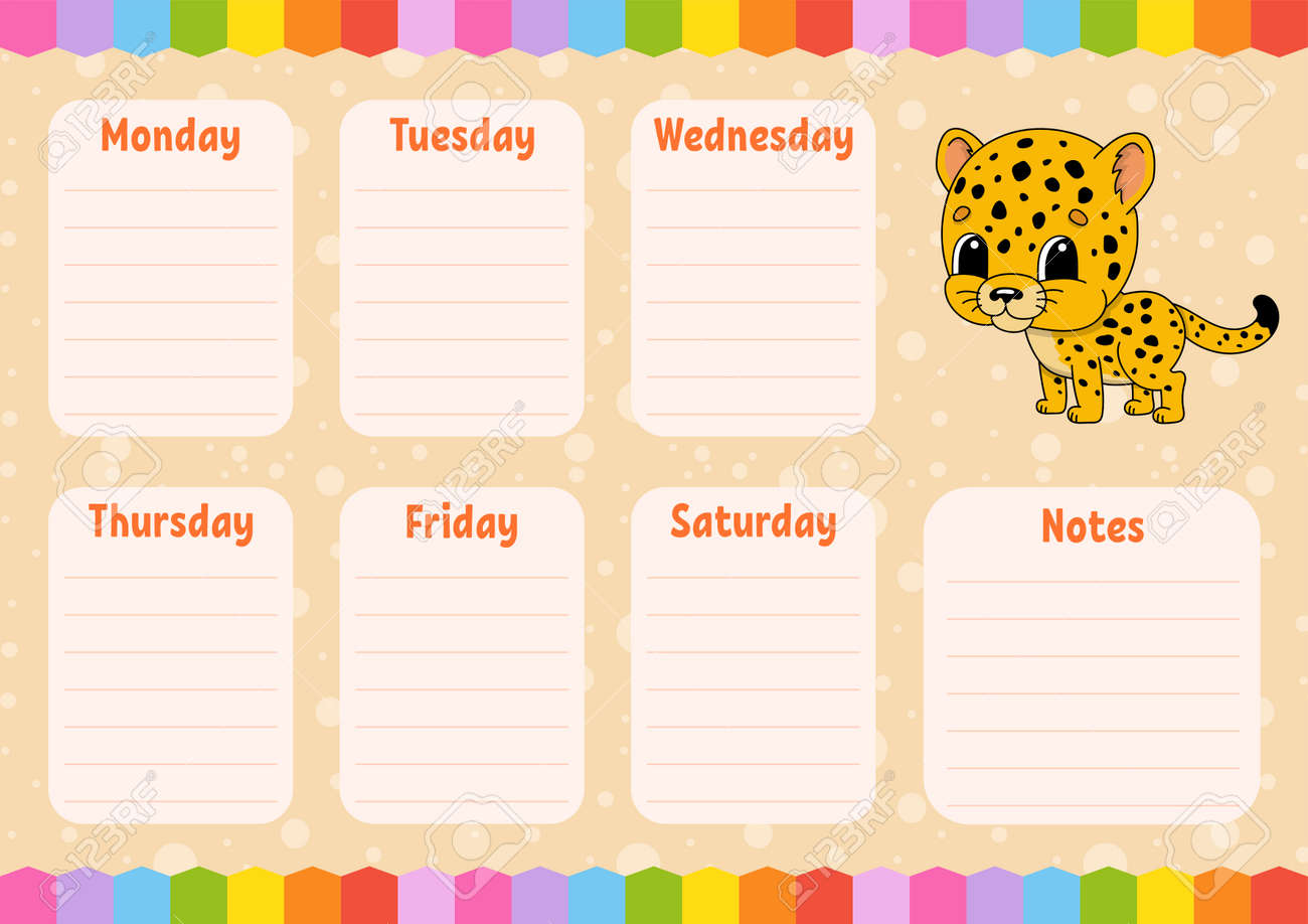 School schedule. Timetable for schoolboys. Spotted jaguar. Empty template. Weekly planer with notes. Isolated color vector illustration. Cartoon character. - 169599824