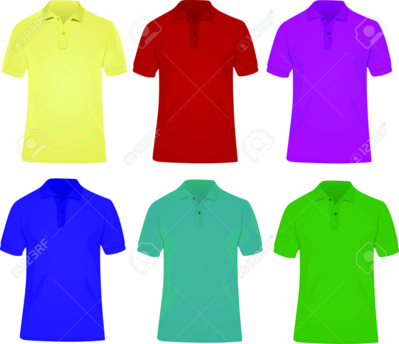 6 Polo Shirts In Different Colors Royalty Free Cliparts Vectors