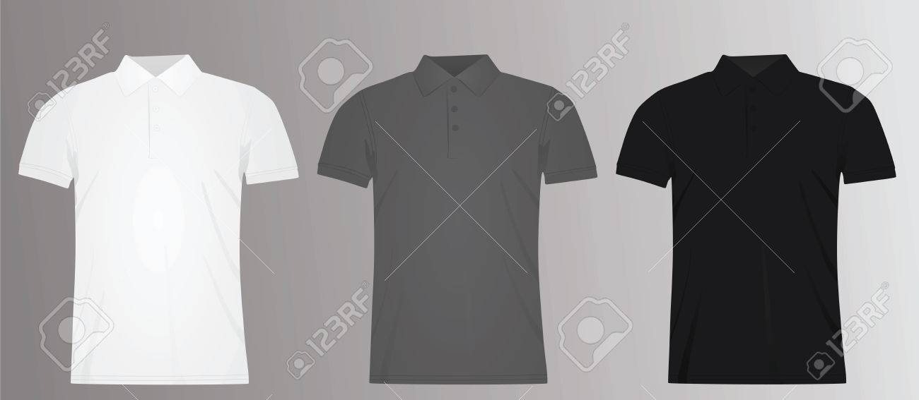 White Grey And Black Men Polo T Shirt Template Vector Illustration