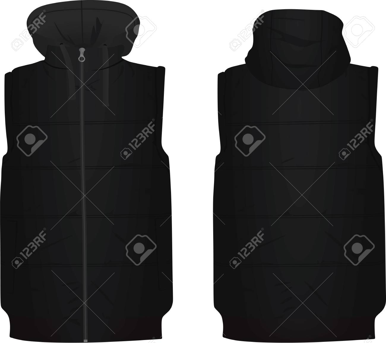 Black puffer with cap illustration on white background. - 92675247