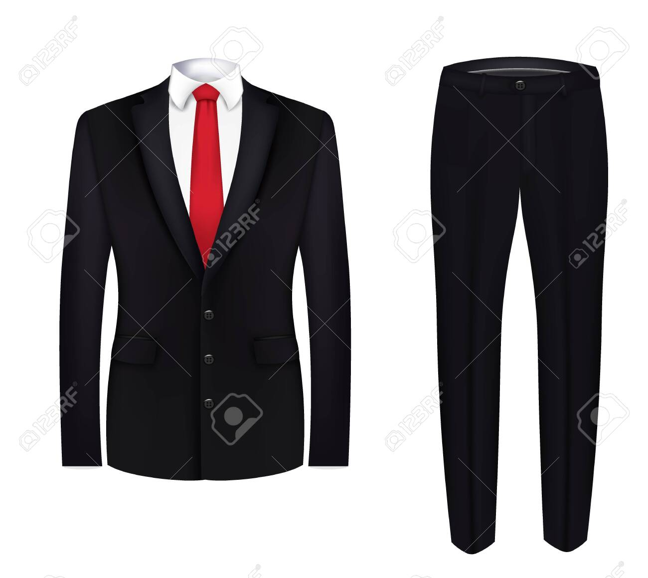 Red tie, white shirt and black suit. close up. vector - 133624771