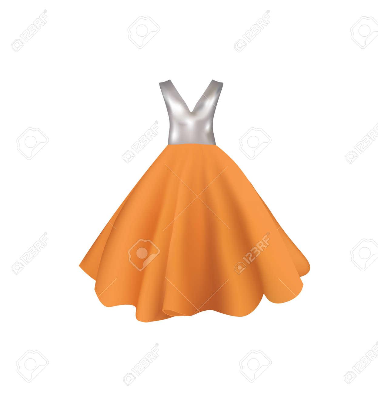 Orange and gray dress, vector - 164201990