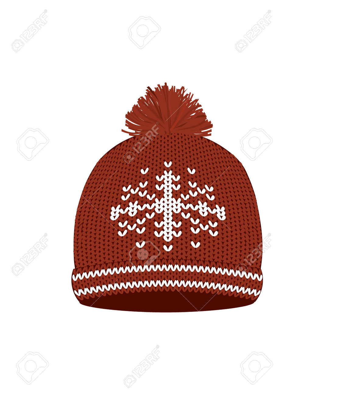 Red knitted winter hat. vector illustration - 163881716