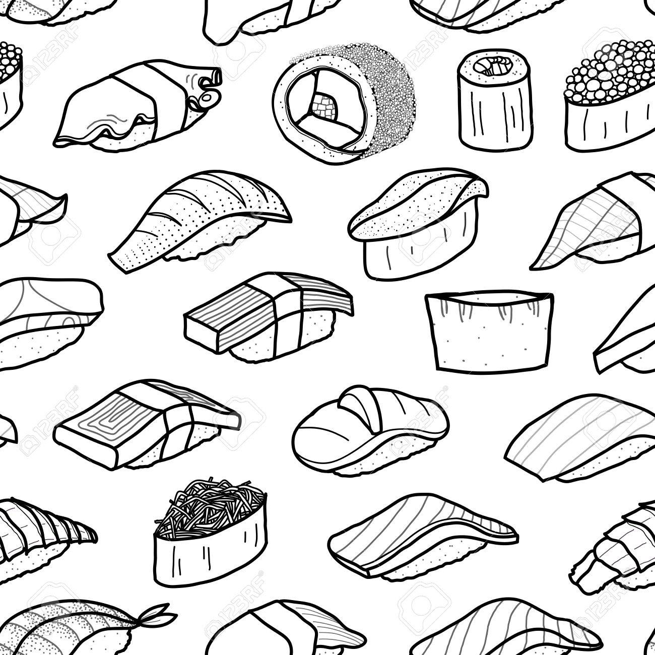 A lot of sushi in black outline random on white background cute