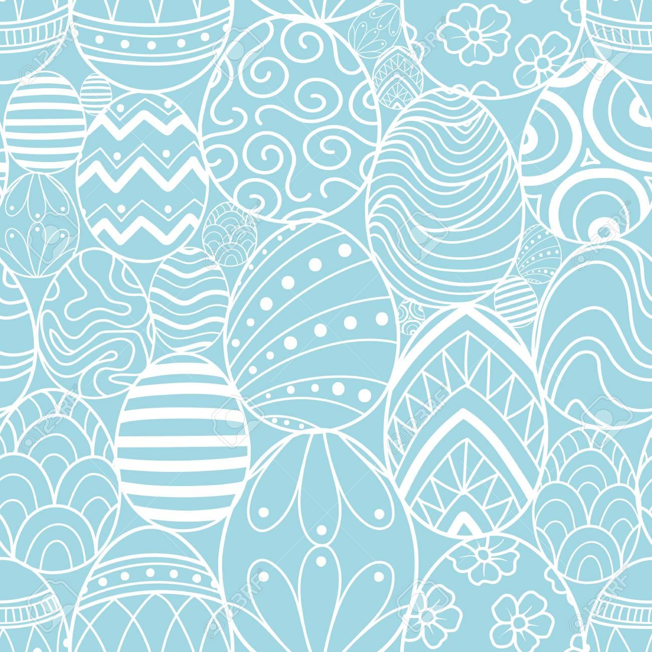 easter eggs in white outline random on blue background cute hand