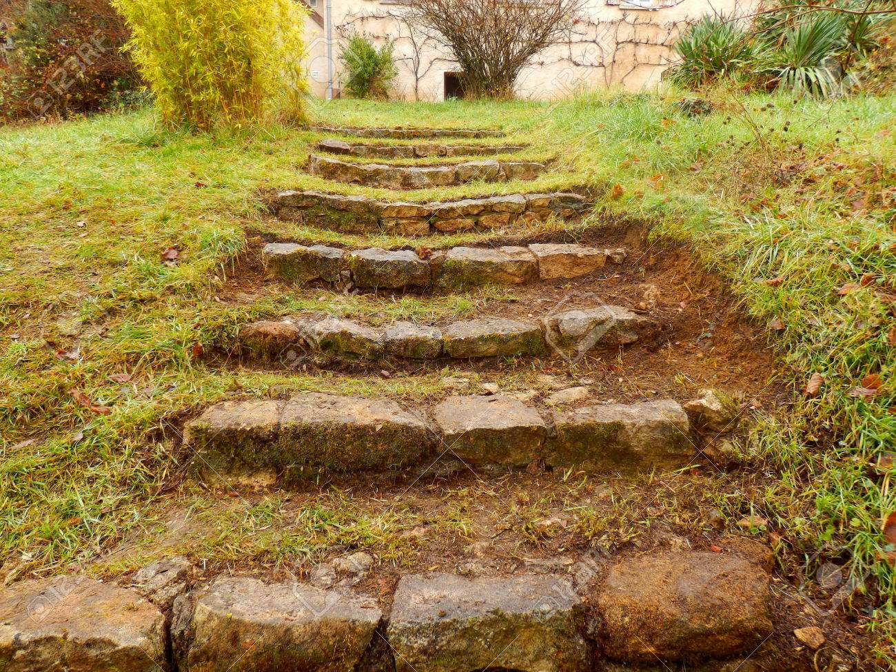 A Flight Of Old Stone Steps Discovered Under Grass Stock Photo ...