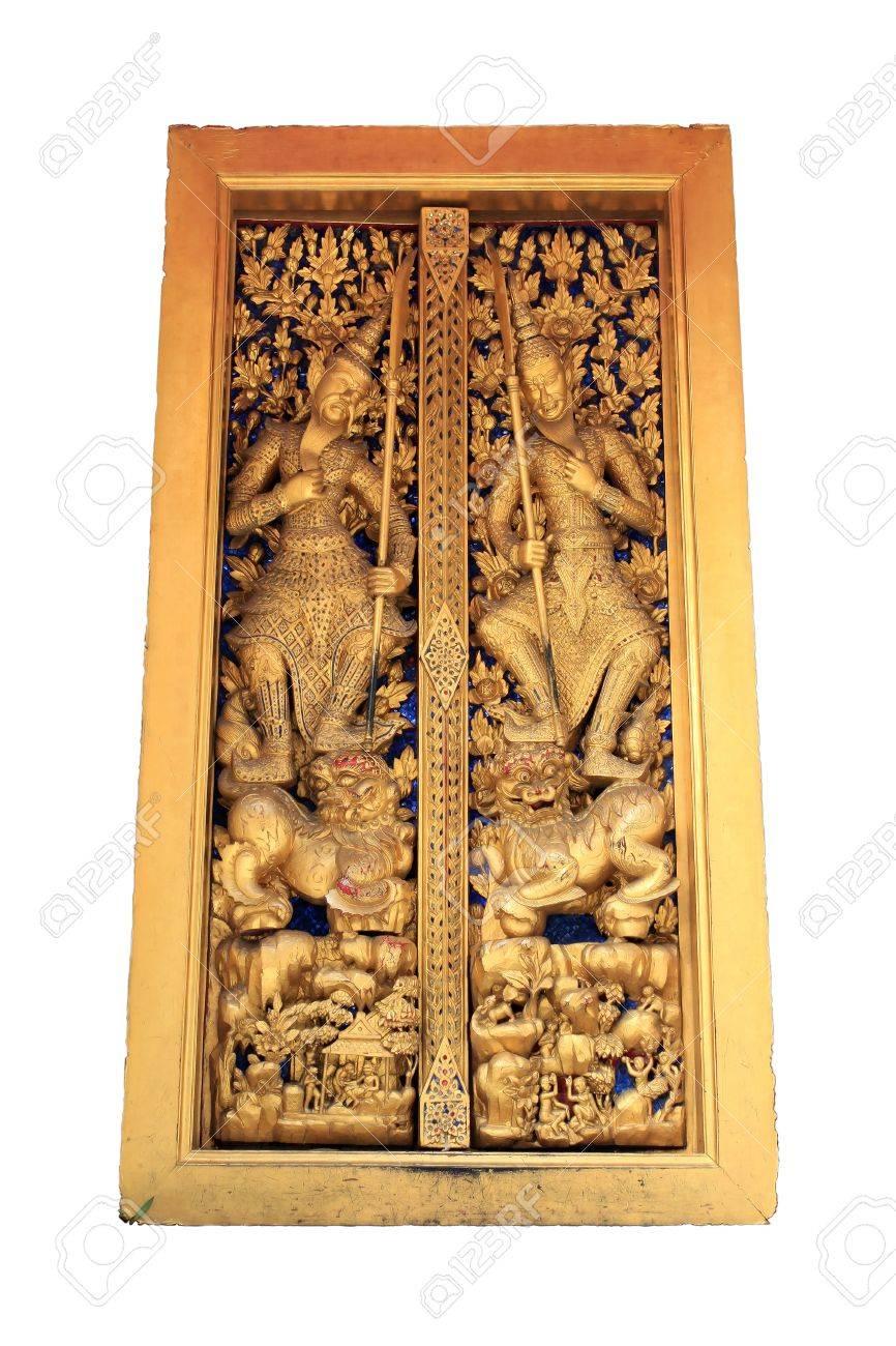 Beautiful sculpture of golden door in temple Bangkok Thailand Stock Photo - 12566560