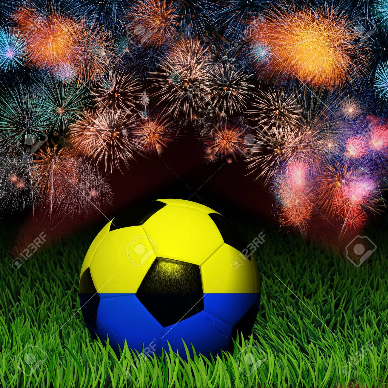 Soccer ball with Ukraine flag pattern on the grass, fireworks celebration Stock Photo - 13919285