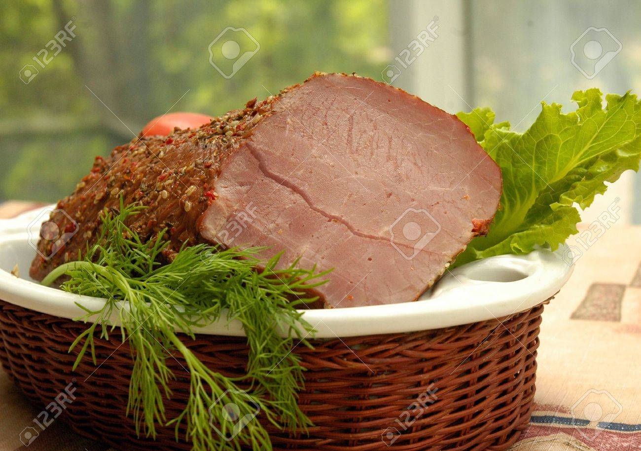 Collage: smoked meat, bread, chicken and vegetables Stock Photo - 732986