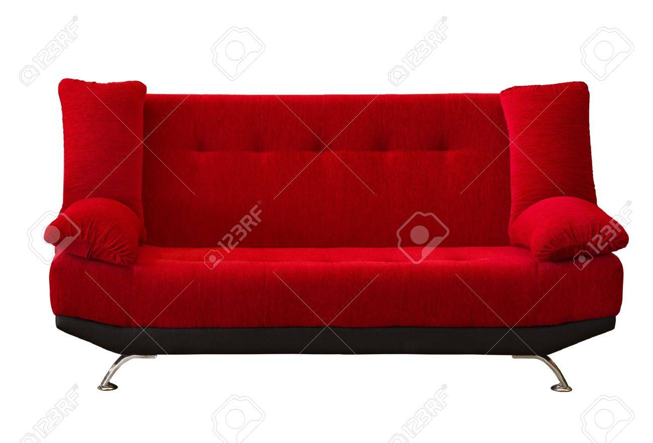 red fabric modern sofa on white background